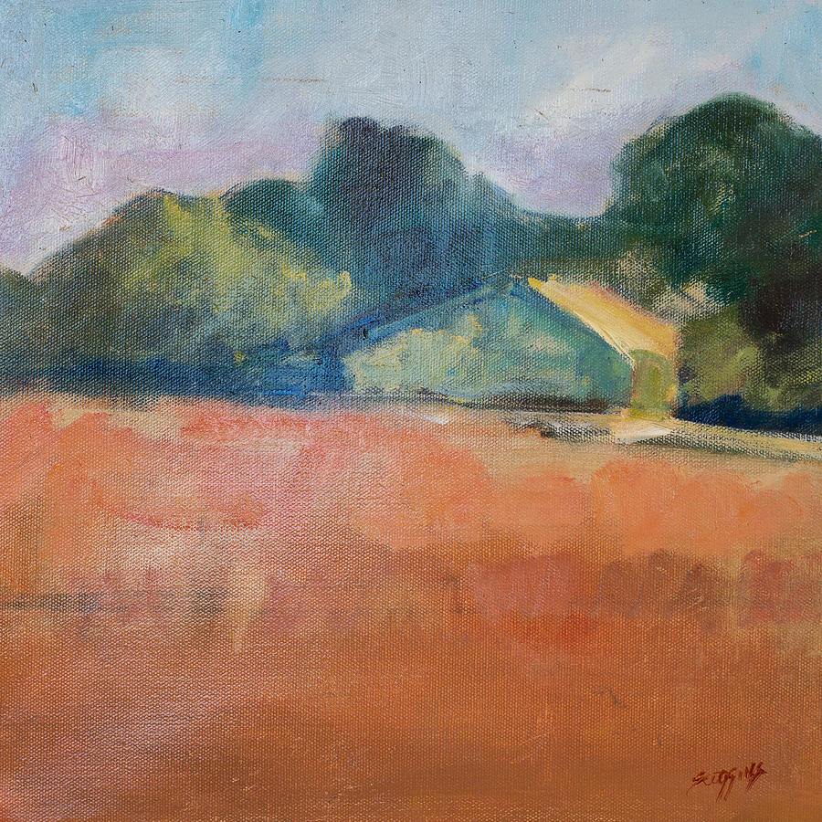 France Painting - Farmhouse In Red Field by Susan Scoggins