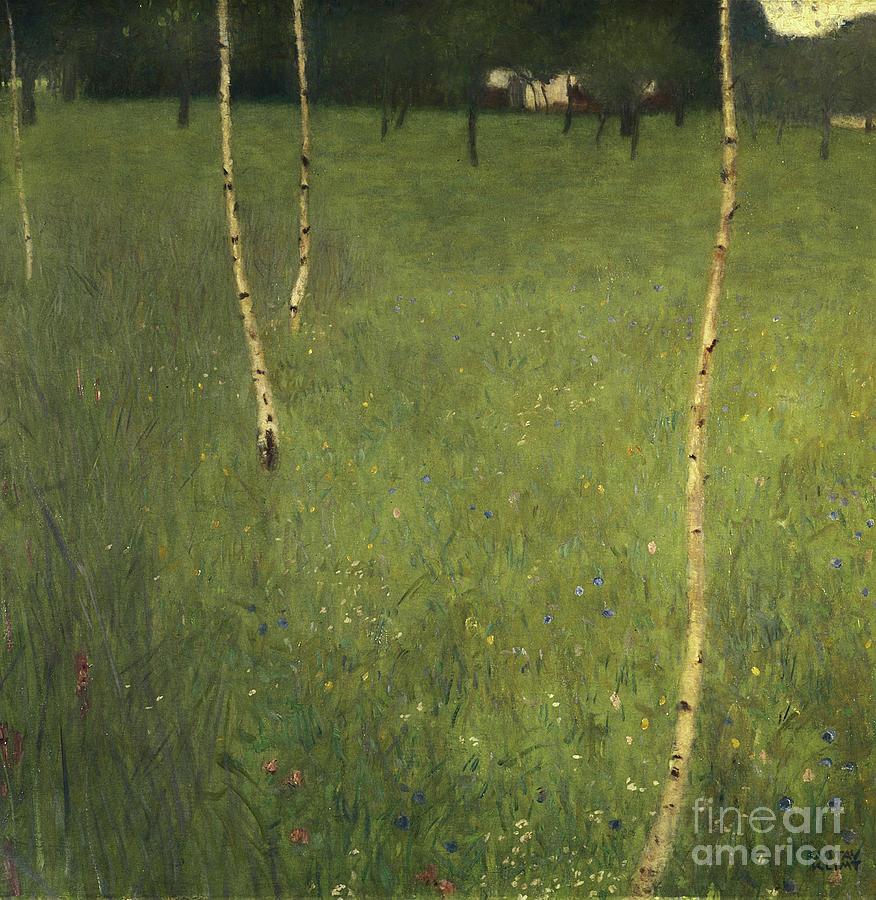 Farmhouse Painting - Farmhouse With Birch Trees by Gustav Klimt