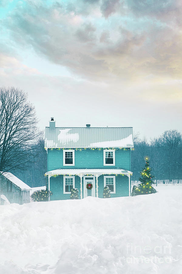 Farmhouse with holiday lights in winter by Sandra Cunningham
