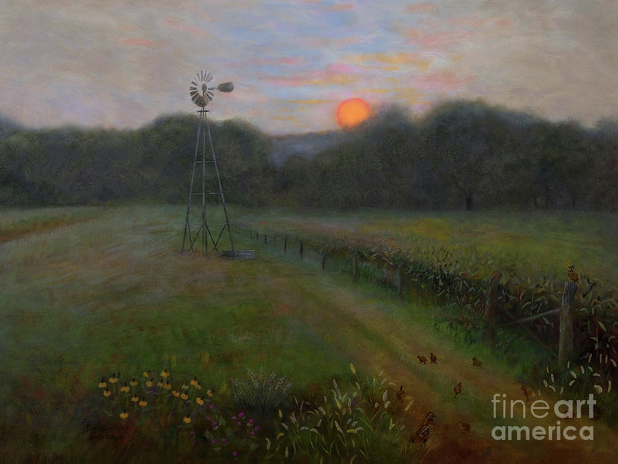 Sunset Painting - Farmland Peace by Nancy Lee Moran