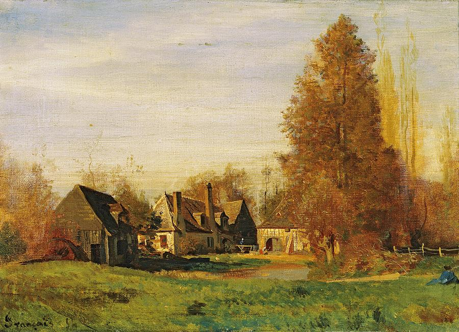 Farmyard Painting - Farmyard by Francois Louis Francais