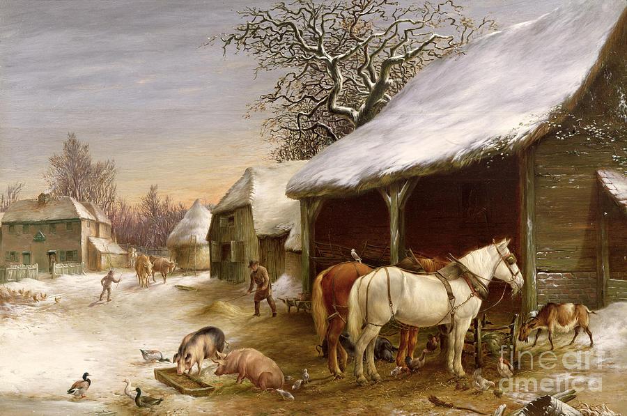 Gg14441 Painting - Farmyard In Winter  by Henry Woollett