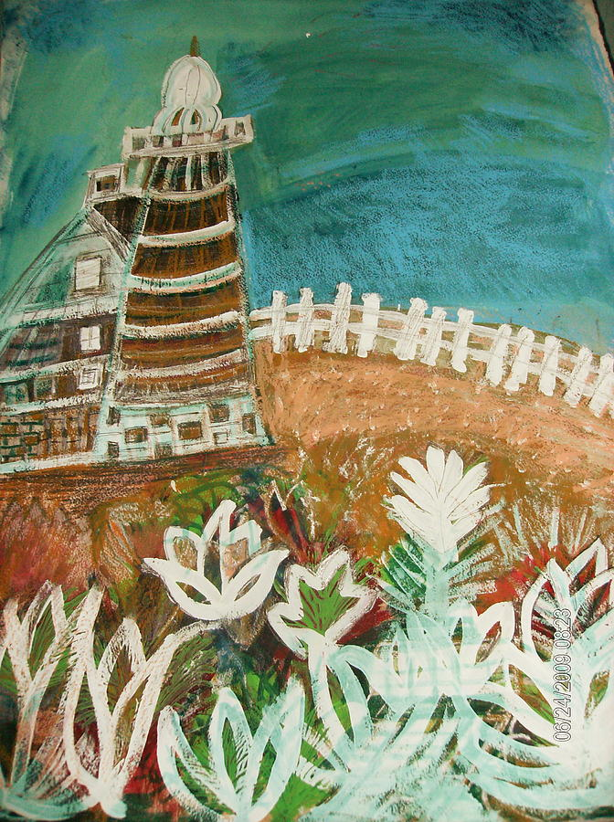Lighthouse Painting - Faro Un Poquito Torcida Con Valla by Anne-Elizabeth Whiteway