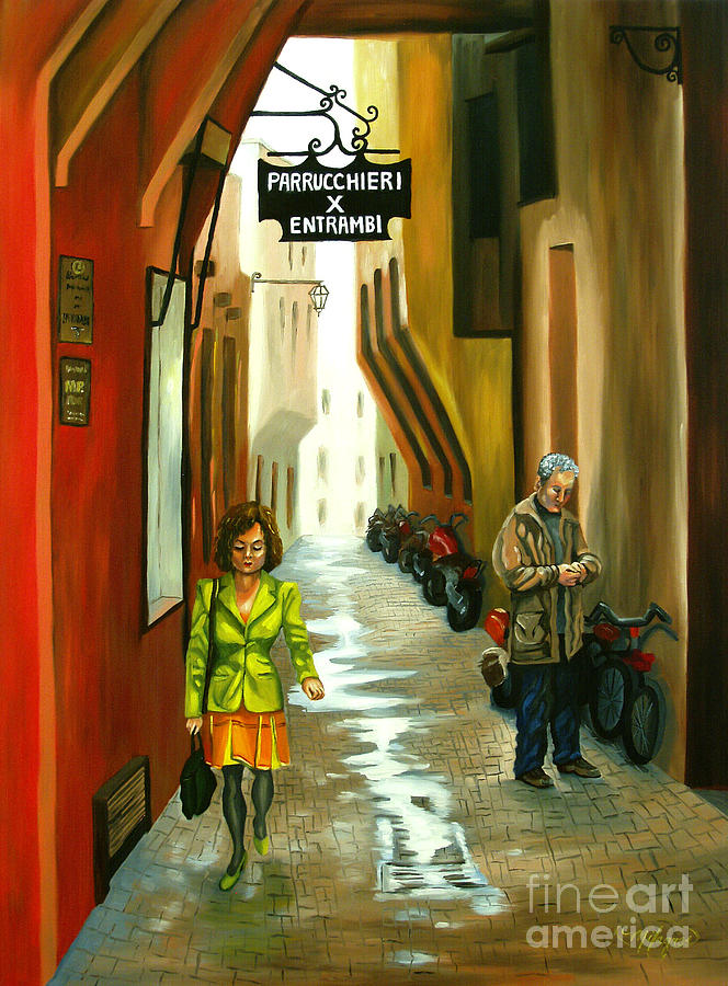 Portrait Painting - Fashion Alley In Bologna by Milagros Palmieri