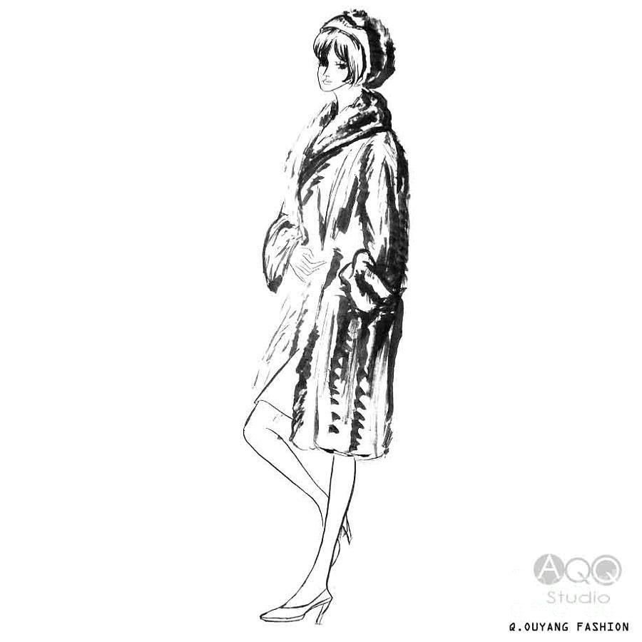 Fashion Girl in Fur Coat by QQ Ouyang