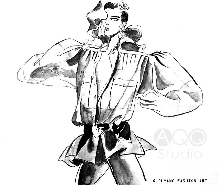 Fashion Illustration Painting - Fashion Girl with big Sleeves by AQQ Studio