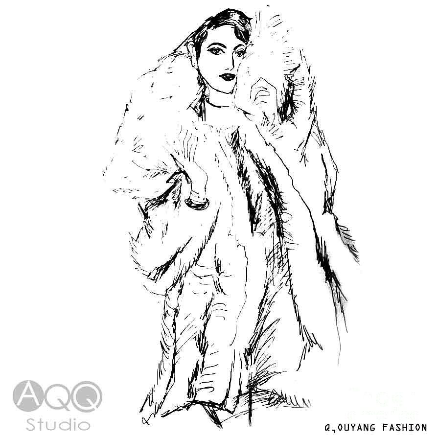 Fashion Illustration Painting - Fashion Lady in Fur Coat by AQQ Studio