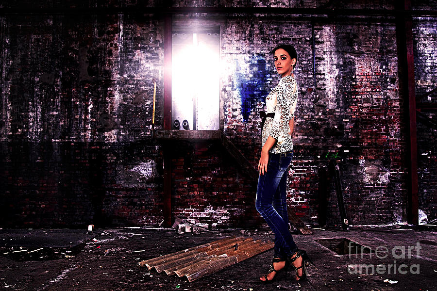 Grunge Photograph - Fashion Model In Jeans  by Milan Karadzic