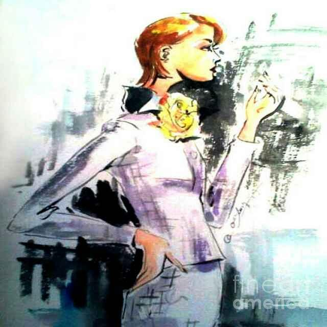 Watercolor Painting - Fashion Woman in Purple by AQQ Studio
