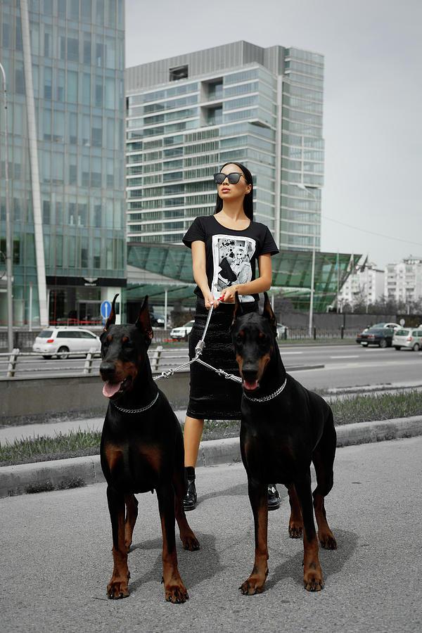 Fashion woman with doberman Photograph by Gaukhar Yerk