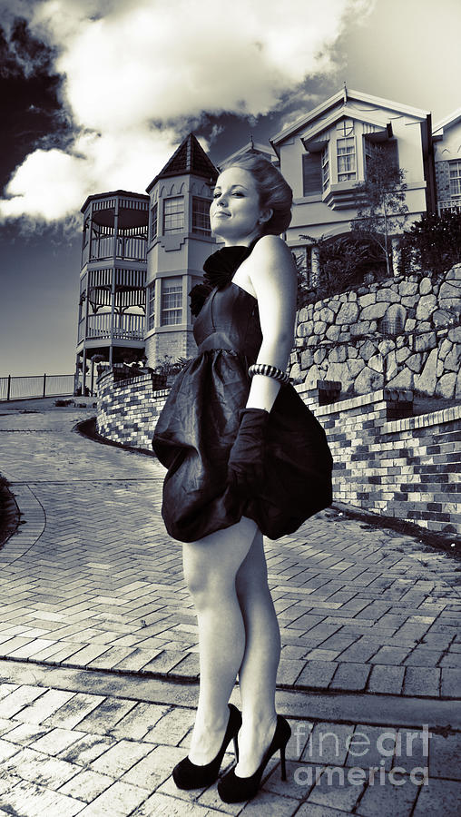 Adult Photograph - Fashionable Woman And Mansion by Jorgo Photography - Wall Art Gallery