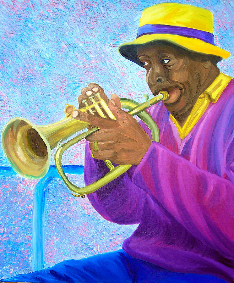 Street Musician Painting - Fat Albert Plays The Trumpet by Michael Lee