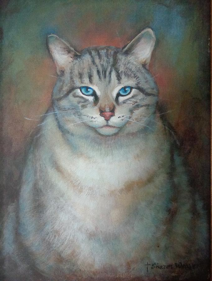 Cat Painting - Fat Cat by Sharon Weaver