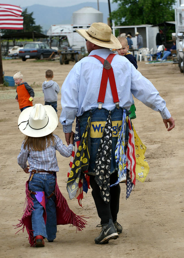 Rodeo Photograph - Father And Daughter by Carol Miller
