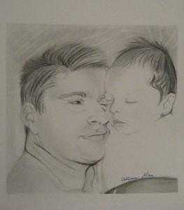 Father And Son Drawing by Allison  May