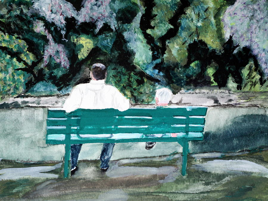 Father Painting - Father And Son by Cathy Jourdan