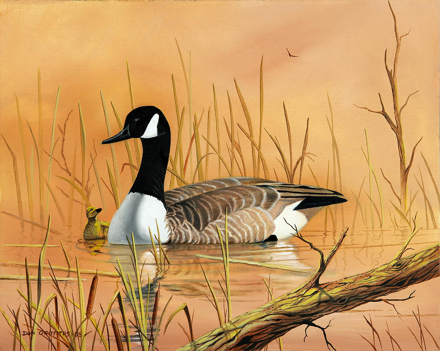 Duck Painting - Father And Son by Don Griffiths