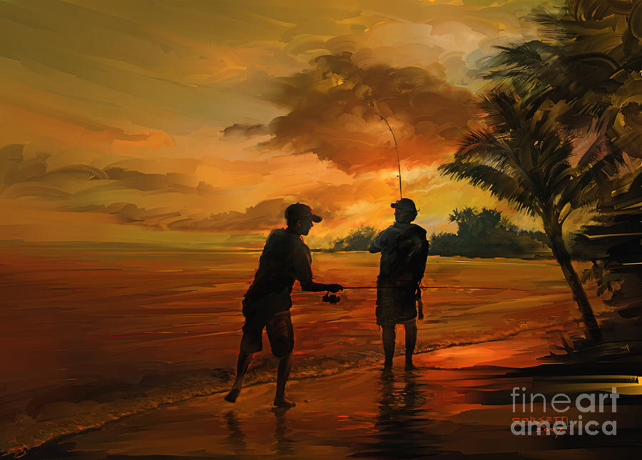Father And Son Fishing Painting By Rob Corsetti