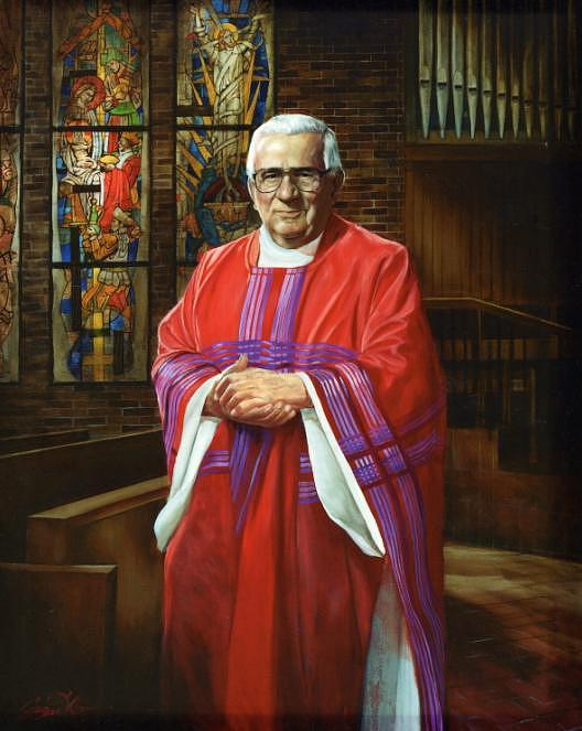Pastor Painting - Father Bernard Reiser by Mark Sanislo