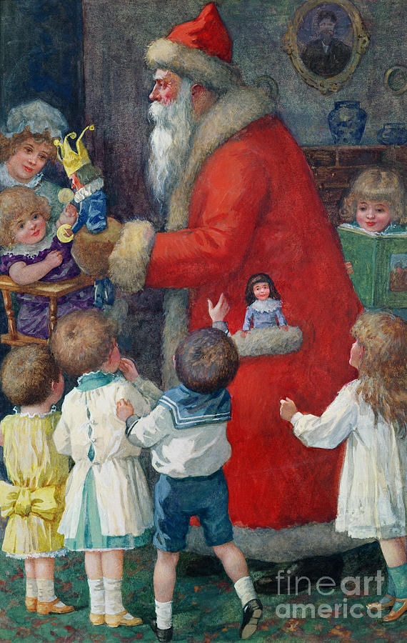 Father Christmas With Children By Karl Roger (b.1879) Painting - Father Christmas With Children by Karl Roger