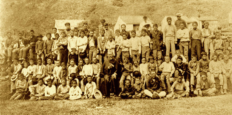 Father Damien Photograph - Father Damien And Boy Lepers Of Kalaupapa by James Temple