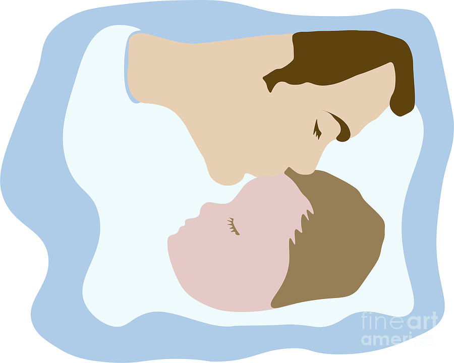 Father kissing sleeping young child by Susan Vineyard