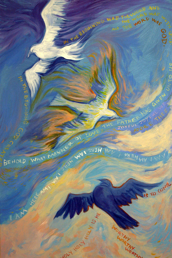 God Painting - Father Son And Holy Spirit by Jill Iversen