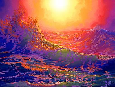 Sunset Painting - Fathomless Billowing Waves Of Love From The Worlds Of Nature And Conservation Series by Loren Adams