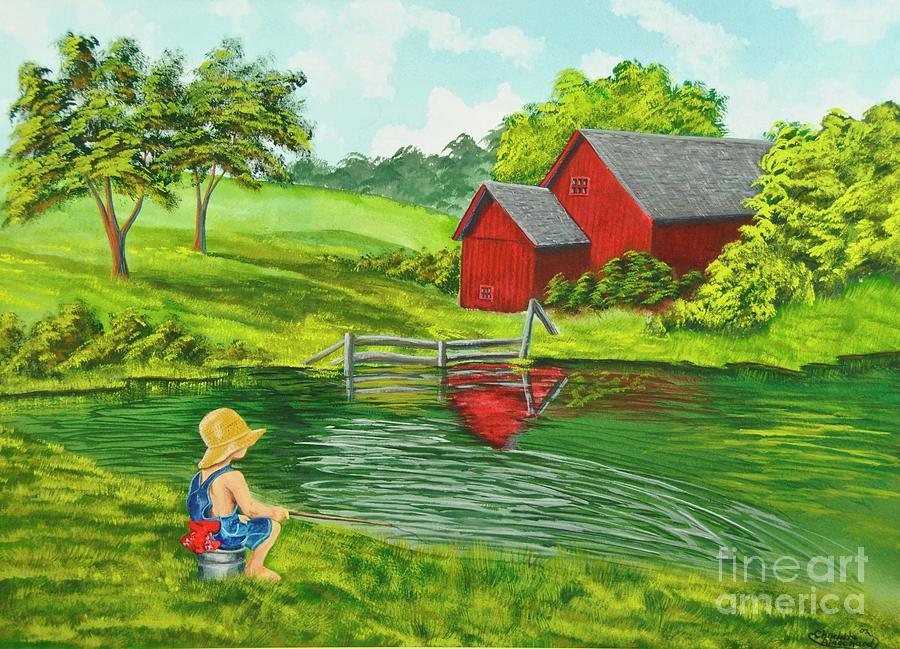 Fishing Painting - Favorite Fishing Hole by Charlotte Blanchard