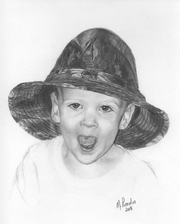 Boy Drawing - Favorite Hat by Marlene Piccolin