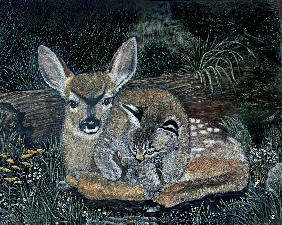 Fawn and Cat by Angie Cockle