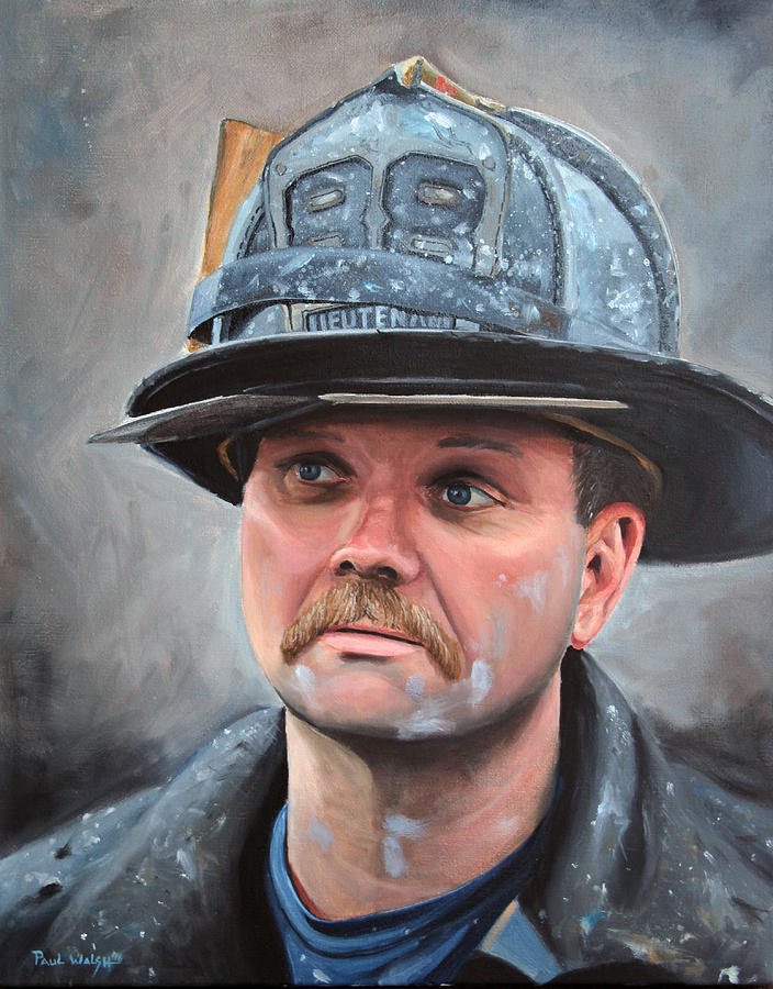 Fdny Painting - Fdny Lieutenant by Paul Walsh