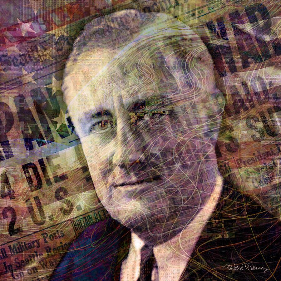 Franklin Roosevelt Digital Art - FDR by Barbara Berney