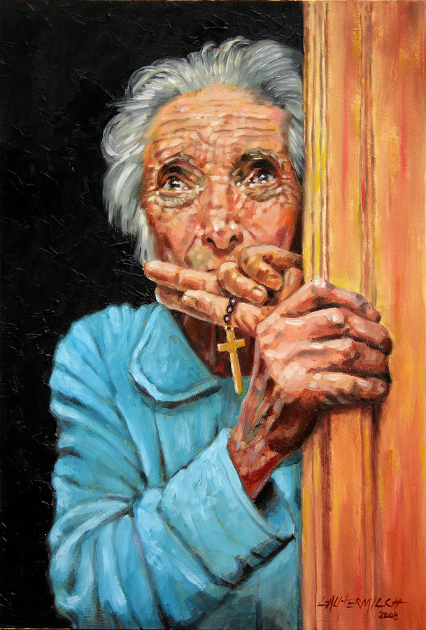 Old Woman Painting - Fear And Faith by John Lautermilch