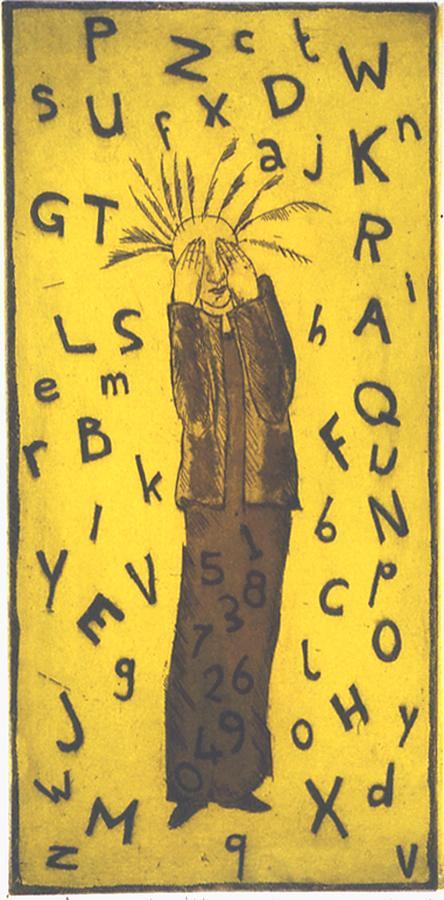 Metaphorical Print - Fear Of Letters-dressed In Numbers by Bert Menco
