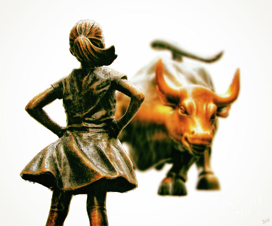 Fearless Girl And Wall Street Bull Statues 21 Photograph