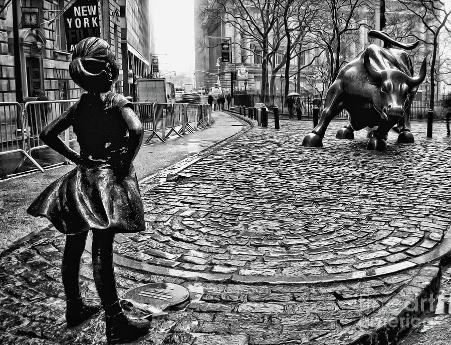Fearless Photograph - Fearless Girl And Wall Street Bull Statues 3 Bw by Nishanth Gopinathan