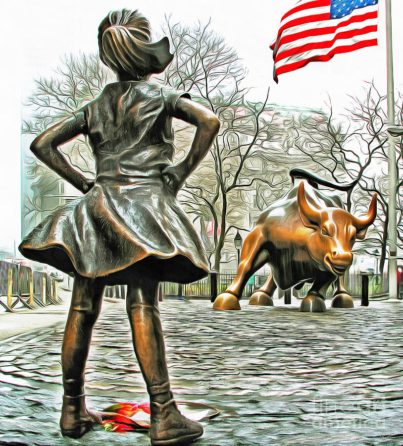 Fearless Girl And Wall Street Bull Statues 5 With American Flag Photograph