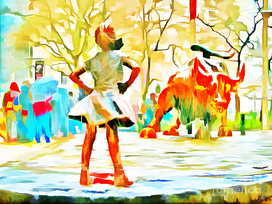 Fearless Girl And Wall Street Bull Statues 6 Watercolor Photograph ...