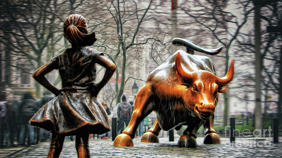 Fearless Girl And Wall Street Bull Statues Photograph