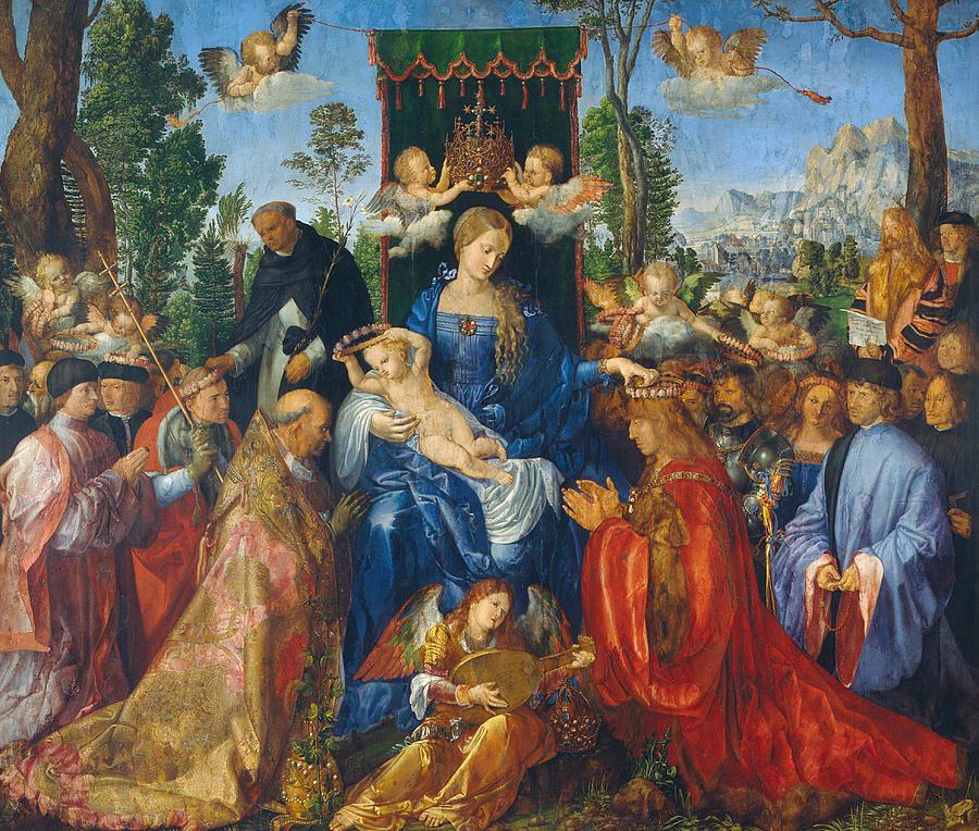 Albrecht Durer Painting - Feast Of Rose Garlands by Albrecht Durer