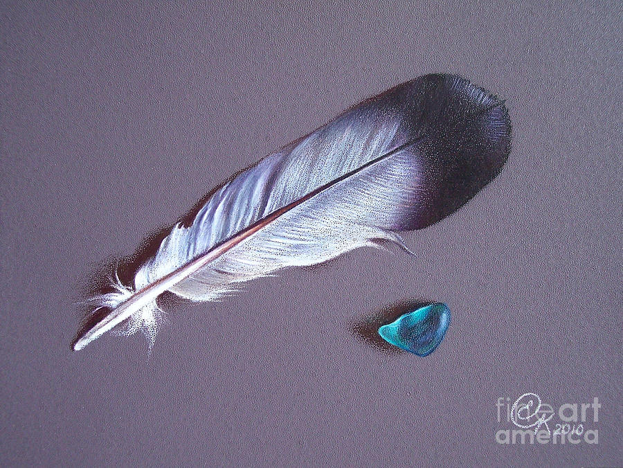 Feather Drawing - Feather And Sea Glass 1 by Elena Kolotusha