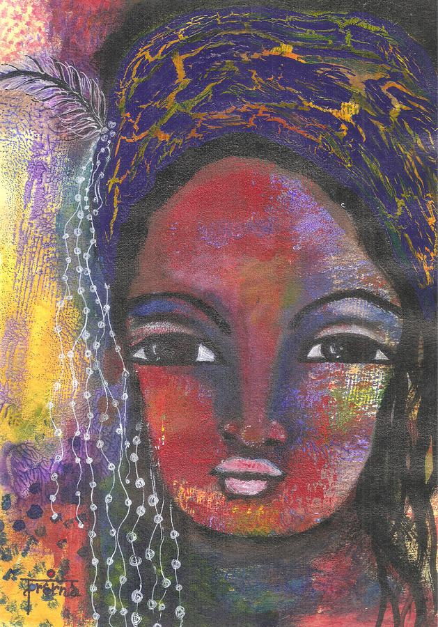 Tribal Woman Mixed Media - Feather In My Cap by Prerna Poojara
