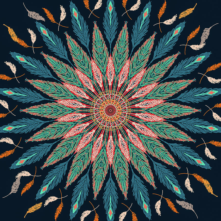 Feather Mandala III by Ronda Broatch