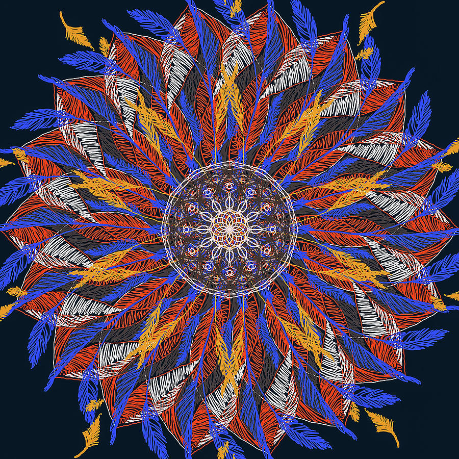 Feather Mandala IV by Ronda Broatch