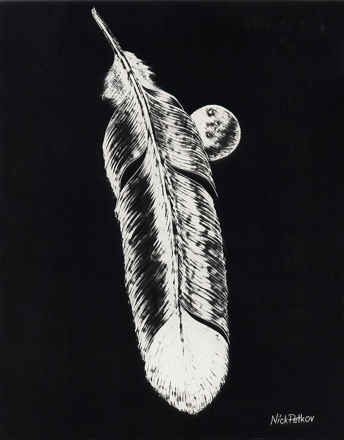Abstract Painting - Feather by Nick Petkov