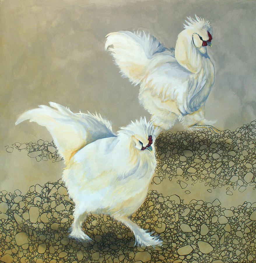 Chickens Painting - Feathers And Rocks by Destiny Schwartz