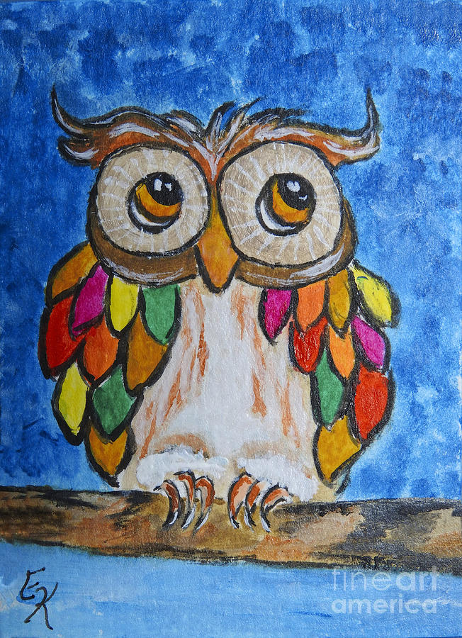 Feathers Of Many Colors Owl Art Painting Print Painting