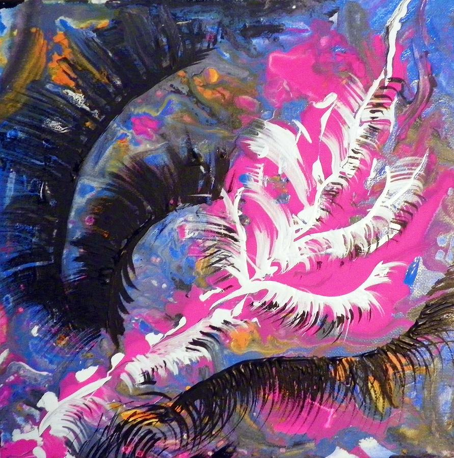 Abstract Painting - Feathers by Roseann Amaranto