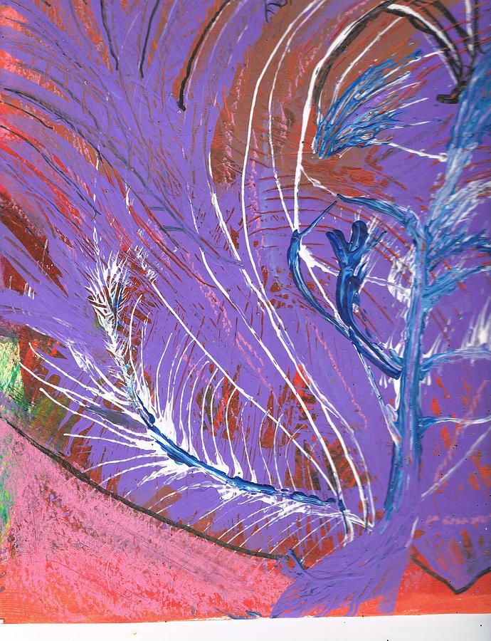 Purple Mixed Media - Feathery Fantasy by Anne-Elizabeth Whiteway